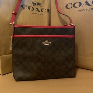 Coach Signature Coated Canvas Crossbody File Bag